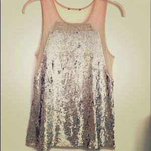 Gold sequin top with gold mesh design